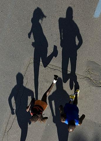 Marathon runners seen from above, Duesseldorf City Marathon, 04.05.2008, North Rhine-Westphalia, Germany, Europe