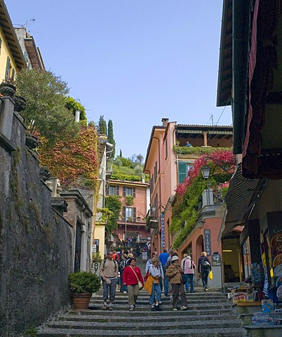 Tourists shopping in Bellagio, Italy, Europe