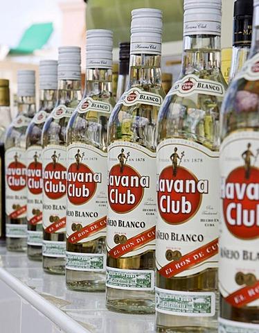 Several bottles of white rum in Havana Club Bar, Tryp Peninsula Hotel, Varadero, Cuba, Caribbean, America