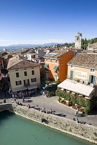 Panoramic view over the historic centre of Sirmione with the Santa Maria Maggiore Church, facing north, Lake Garda, Lago di Garda, Lombardy, Italy, Europe