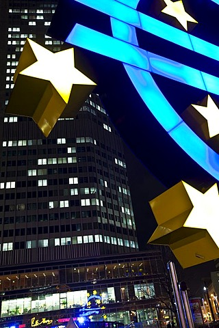 Euro sculpture at night, in front of the European Central Bank and Opera House, Frankfurt, Hesse, Germany, Europe