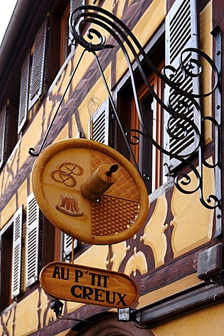 Advertising sign of a bakery, Ribeauville, Alsace, France, Europe