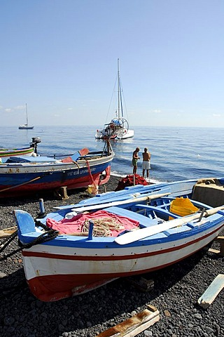 Colourful fishing boats on a black sandy beach on Stromboli Island, Stromboli volcano, Aeolian or Lipari Islands, Tyrrhenian Sea, Sicily, South Italy, Italy, Europe