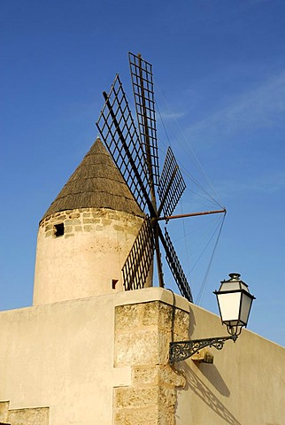 Traditional windmill and street lantern in the Santa Catalina district, Palma de Mallorca, Mallorca, Balearic Islands, Spain, Europe