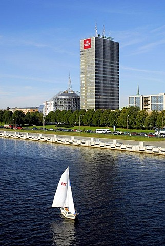 Daugava river with a sailing boat, as seen from the Vansu tilts bridge on the Parex Banka, Riga, Latvia, Baltic States, Northeast Europe