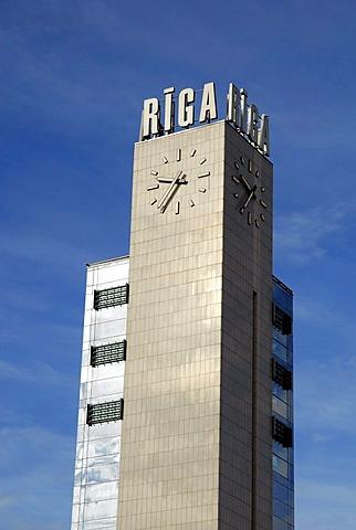 Clock tower and logo at the Central Station, Rigas Centrala Stacija, Riga, Latvia, Latvija, Baltic States, Northeast Europe