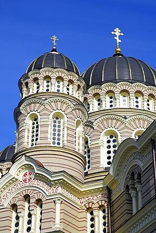 Russian Orthodox Cathedral, Kristus Piedzimsanas pareizticigo Katedrale, facade detail, Orthodox Church of Christ's Birth, Riga, Latvia, Baltic states, Northeastern Europe