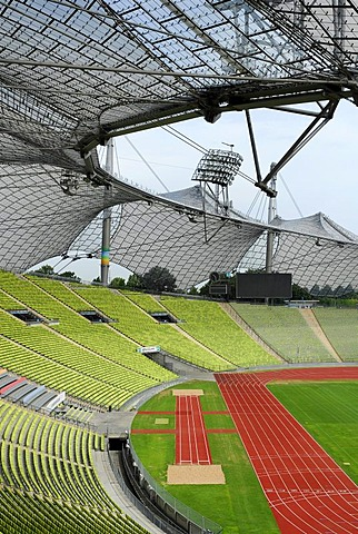Olympia Park, Olympia Stadium at Olympiazentrum, Olympia Centre, modern architecture with an innovative roof construction, Munich, Upper Bavaria, Bavaria, Germany, Europe