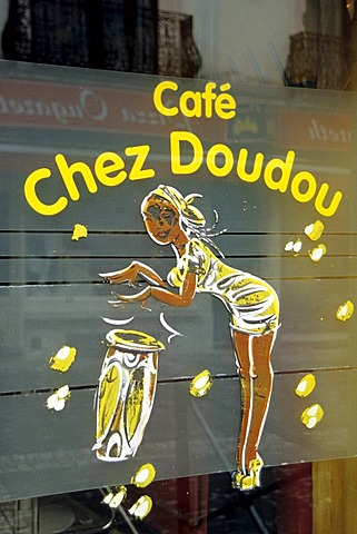 Chez Doudou cafe, picture on a cafe-window, Rue Longue Vie, Matonge, Ixelles, Brussels, Belgum, Benelux, Europe