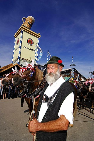 Man in traditional costume during the opening ceremony, entering of the breweries, Wies'n, October fest, Munich, Bavaria, Germany, Europe