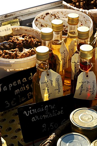Vinegar for sale at the Nimes Market, Provence, France, Europe