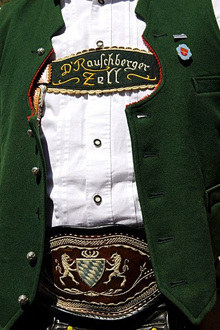 Man in traditional dress, detail, during a folk festival in Ruhpolding, Chiemgau, Bavaria, Germany, Europe