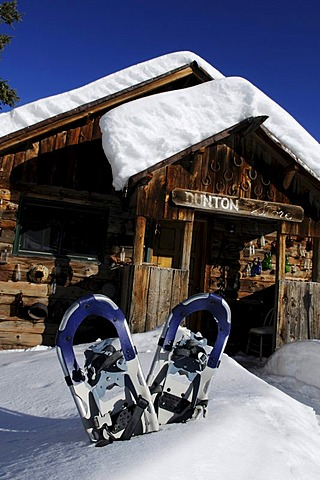 Snow shoes at the Dunton Hot Springs Lodge in Colorado, USA