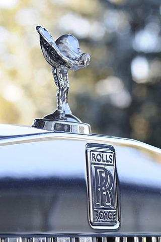 Emily, Rolls Royce bonnet ornament, Gstaad, Western Alps, Bernese Oberland, Switzerland, Europe