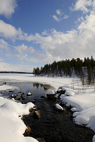 Lake Inari near Partakko, Lapland, Finland, Europe
