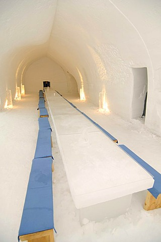 Dining room, igloo, Icehotel Kakslauttanen, Ivalo, Lapland, Finnland, Europe