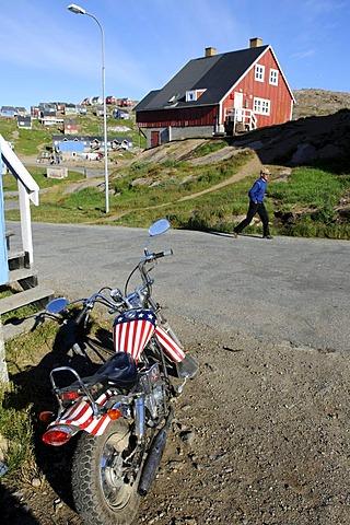 US Star-Spangled Banner motorbike, Tasiilaq, Ammassalik, East Greenland, Greenland