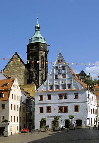 Market, Canaletto house, St Marien parish church, Pirna, Saxony, Germany, Europe