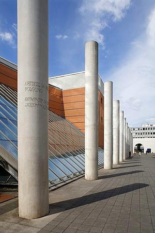 Germanisches Nationalmuseum, Dani Karavan, Strasse der Menschenrechte, Street of Human Rights, historic city centre, Nuremberg, Middle Franconia, Bavaria, Germany, Europe