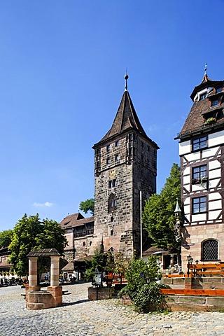 Tower with fountain at Tiergaertnertor, Pilatus house, old city, Nuremberg, Middle Franconia, Bavaria, Germany, Europe
