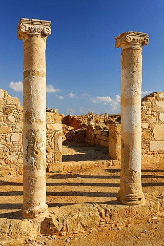 Ancient Greek columns in ancient walls, excavation site, UNESCO World Heritage Site, Kato, Paphos, Pafos, Cyprus, Europe