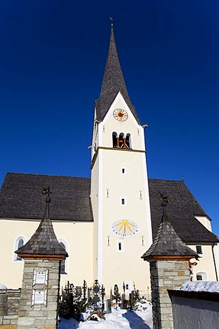 Church and cemetery in Wagrein, homeland of the poet Waggerl, the song Silent Night was composed here, Pongau, Salzburg, Austria, Europe