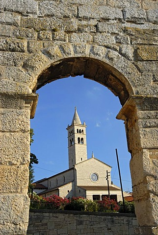 St. Anthonyís Church seen through arch of ancient Roman amphitheater, arena, Pula, Istria, Croatia, Europe