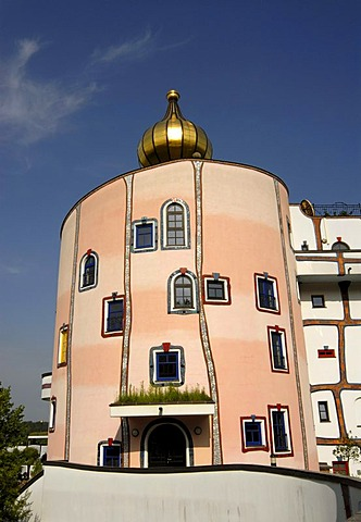 Eccentric architecture of Rogner Thermal Spa and Hotel, designed by Friedensreich Hundertwasser in Bad Blumau, Austria, Europe