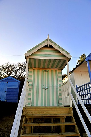 Beach hut at Wells-Next-the-Sea, North Norfolk coast, England, United Kingdom, Europe