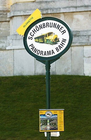 Station of the Schoenbrunn panorama train in the Schoenbrunn Castle park, Vienna, Austria, Europe