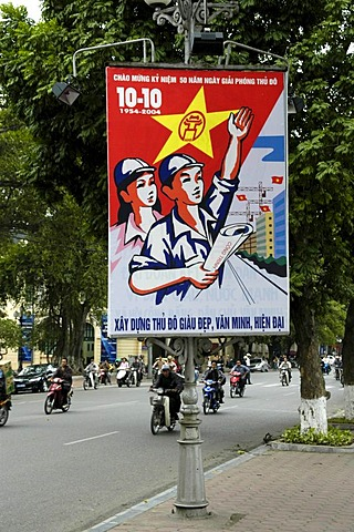 Socialist propaganda poster on a main road, Hanoi, Vietnam, Southeast Asia