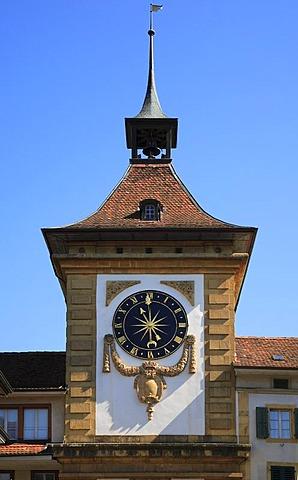 Clock on Berne Gate, Murten in the canton of Fribourg, Switzerland, Europe
