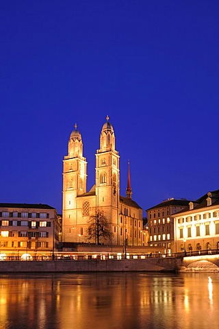 Grossmuenster Church by night, Zuerich, Switzerland, Europe