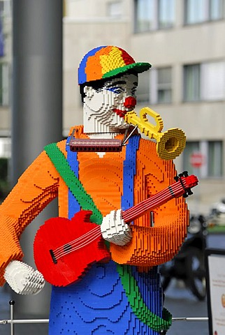 Lego guitarist and trumpet player, Lego Center, Berlin, Germany, Europe