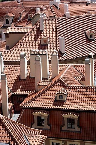 View from the Mala Strana onto the roofs of Prague, Czech Republic, Europe