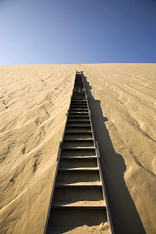 Stairs in the dune of Pyla, Dune du Pilat, biggest dune in Europe on the Atlantic coast near Arcachon, Departement Gironde, France, Europe