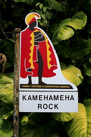 Sign, bus stop in front of the Kamehameha Rock Memorial, Big Island, Hawai'i, Hawaii, USA