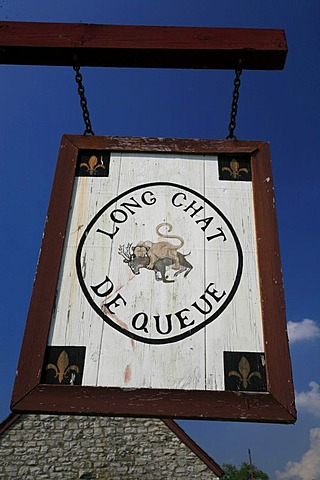 "Sign ""Long chat de queue"", Fort de Chartres, one of three French forts with this name, built in the 18th century near the Mississippi, Fort de Chartres State Historic Site, Prairie du Rocher, Illinois, USA"