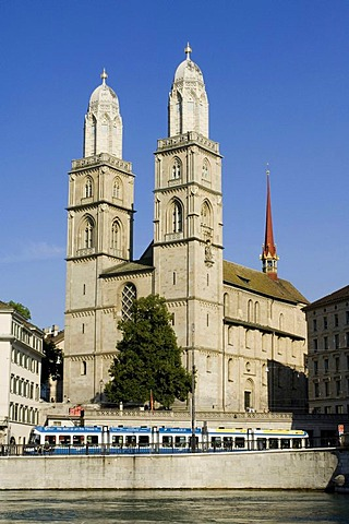 Twin towers of the Grossmuenster Church, the symbol of the city of Zurich, Switzerland, Europe