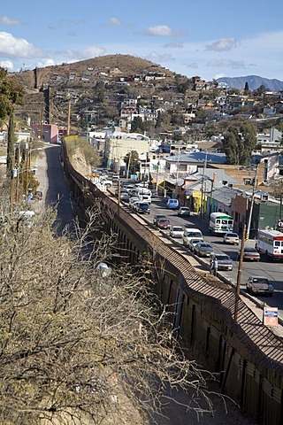 A section of the border fence that separates the United States from Mexico, Nogales, Arizona, USA