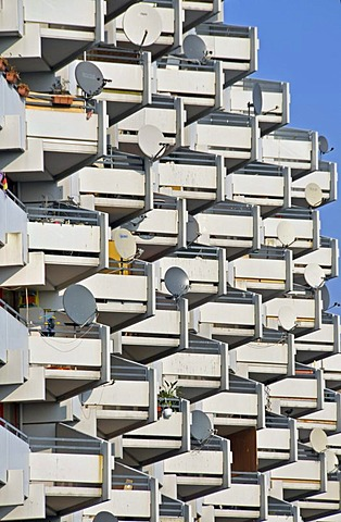Apartment tower with balconies and satelite dishes, Chorweiler near Cologne, North Rhine-Westphalia, Germany, Europe