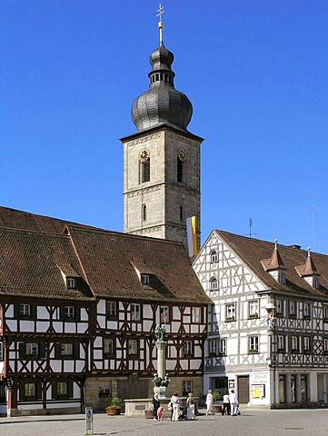 Town Hall Square with Church of St. Martin, Forchheim, Upper Franconia, Bavaria, Germany