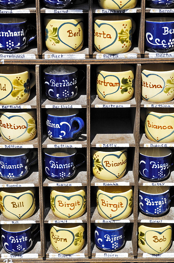 Names written on cups, Auer Dult, traditional market in Munich, Bavaria, Germany, Europe