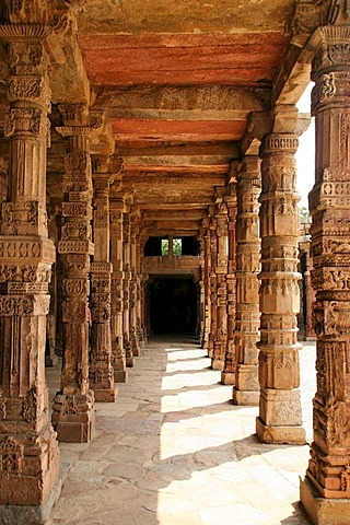 Richly decorated stone pillars at Qutb Minar, Delhi, India