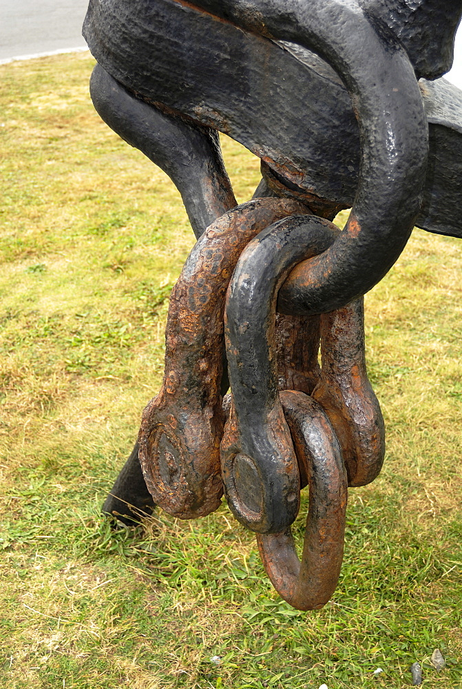 Anchor and chain, Lands End, Cornwall, England, United Kingdom