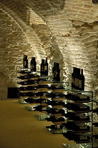 Wine bottles in the cellar Weinkulturhaus Gols Burgenland Austria