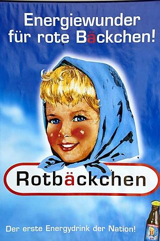 Advertisement for Rotbaechchen Rotbaeckchen energy drink Germany