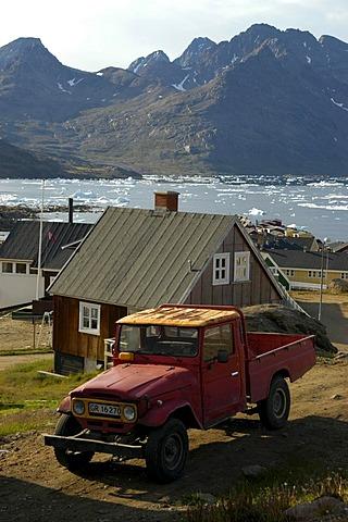 Old Toyota Landcruiser Pick Up in the settlement of Ammassalik Eastgreenland