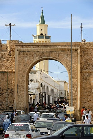 Old gate Bab al Khending to medina with minaret Tripolis Libya