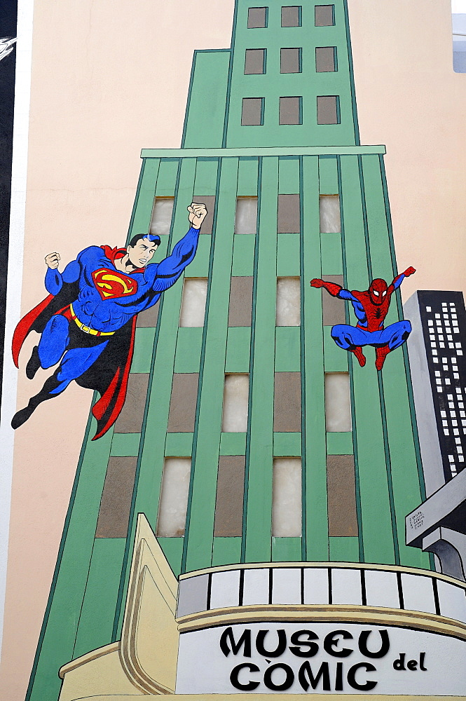 Superman wall mural, Comics Museum, Calpe, Alicante, Costa Blanca, Spain